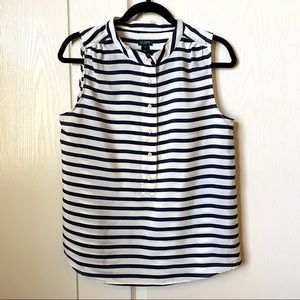 J. Crew Navy Striped Sleeveless Button Down SZ 10
